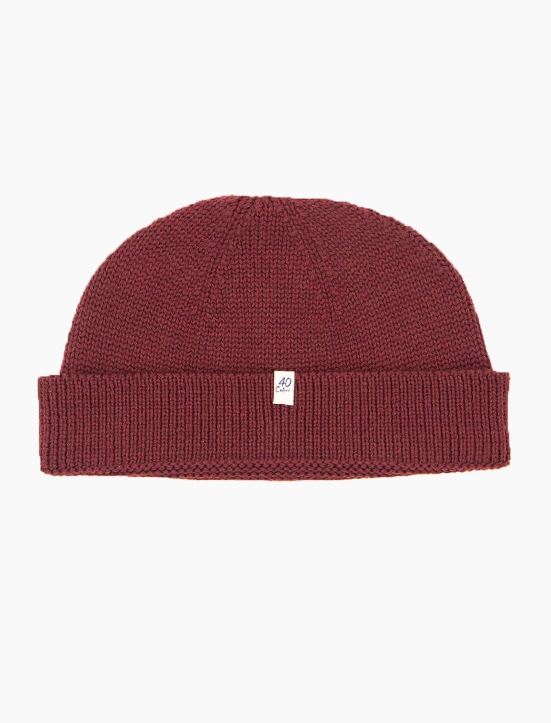 Burgundy Solid 100% Wool Fisherman Beanie | 40 Colori