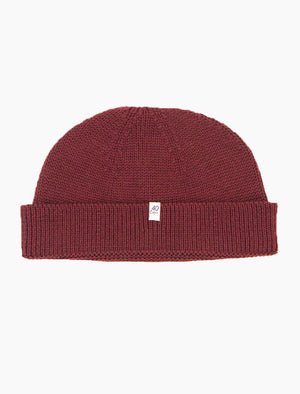 Burgundy Solid Wool Fisherman Beanie