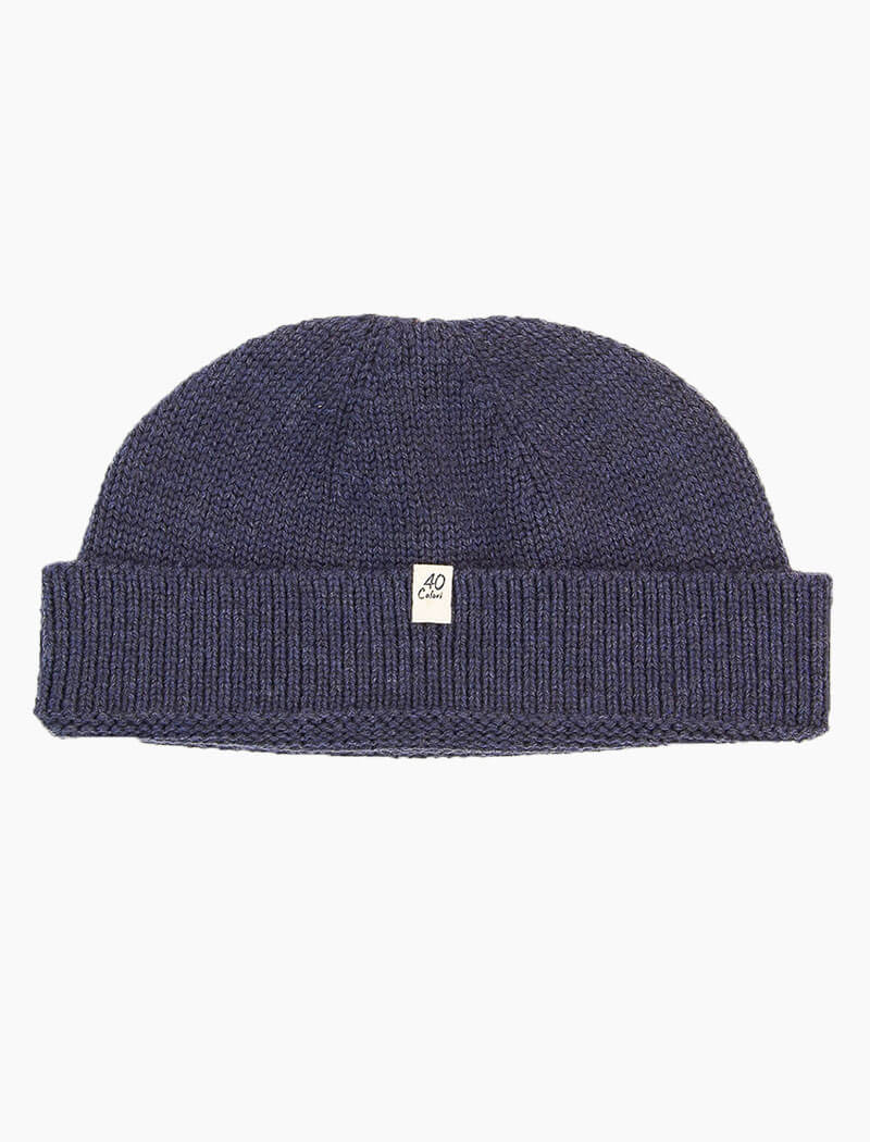 Navy Solid 100% Wool Fisherman Beanie | 40 Colori
