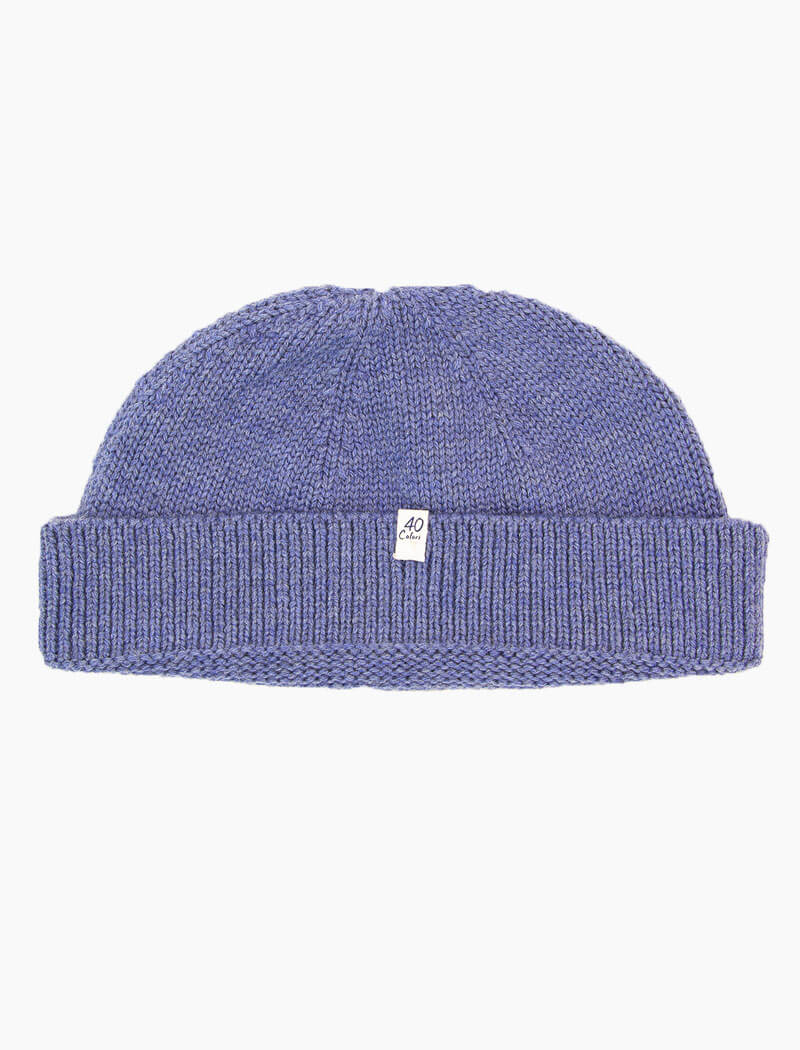 Light Blue Solid Wool Ribbed Fisherman Beanie