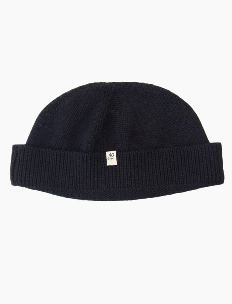 Black Solid Wool Fisherman Beanie