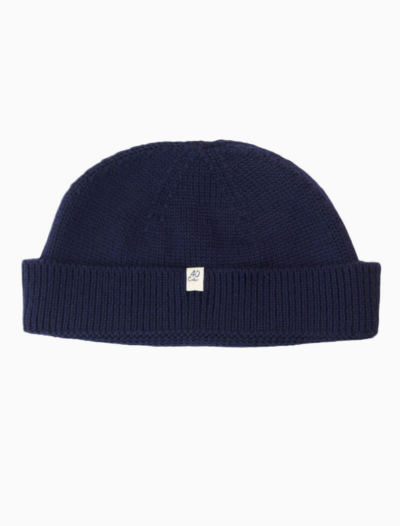 Dark Blue Solid 100% Wool Fisherman Beanie | 40 Colori