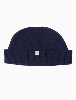 Dark Blue Solid Wool Fisherman Beanie