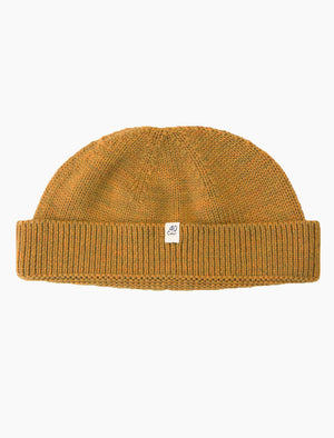 Ochre Yellow Solid Wool Fisherman Beanie