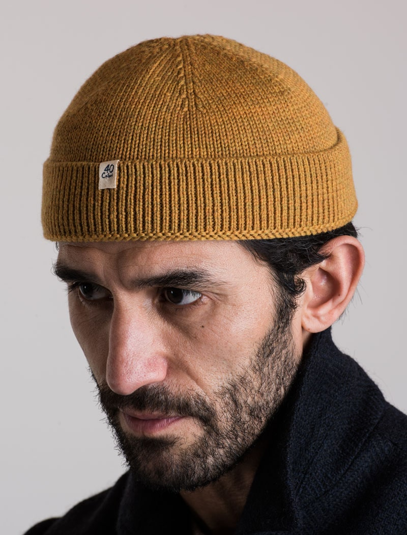 Ochre Yellow Solid Wool 100% Fisherman Beanie | 40 Colori