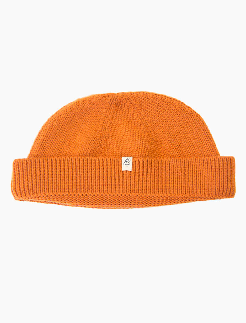 Orange Solid Wool Fisherman Beanie