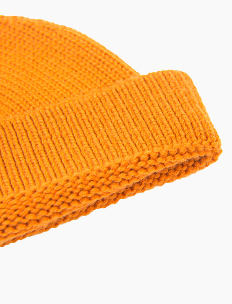 Orange Solid 100% Wool Fisherman Beanie | 40 Colori