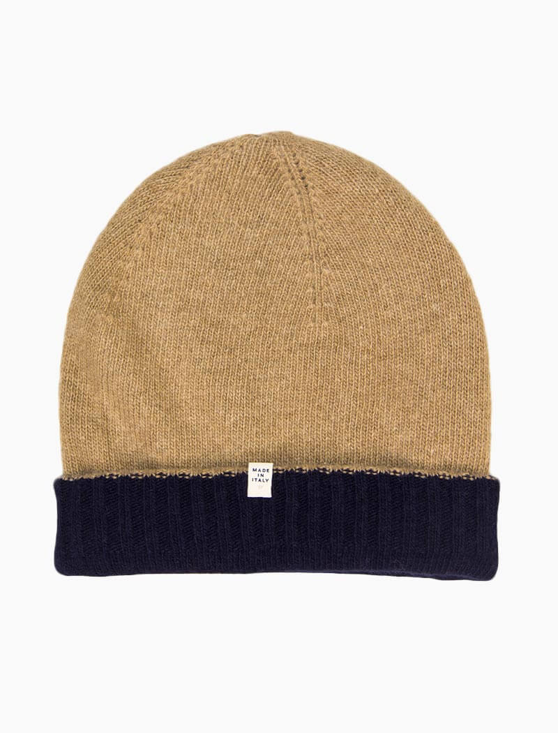 Navy & Beige Reversible Wool & Cashmere Beanie | 40 Colori
