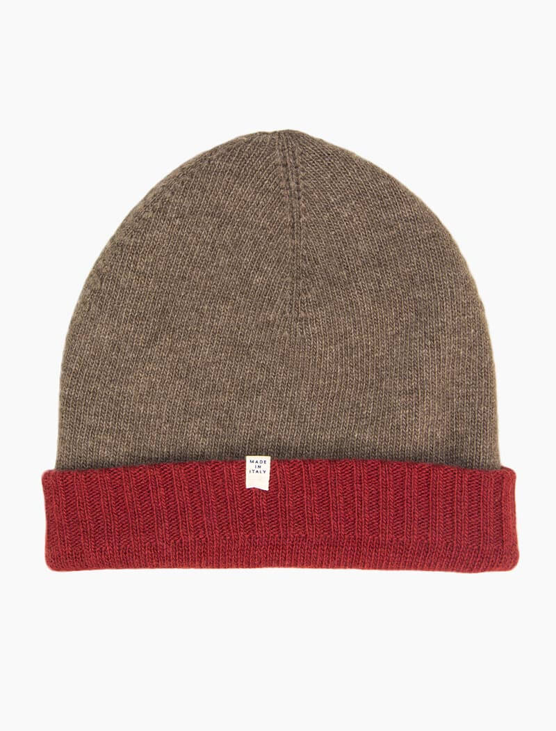 Red & Brown Reversible Wool & Cashmere Beanie | 40 Colori