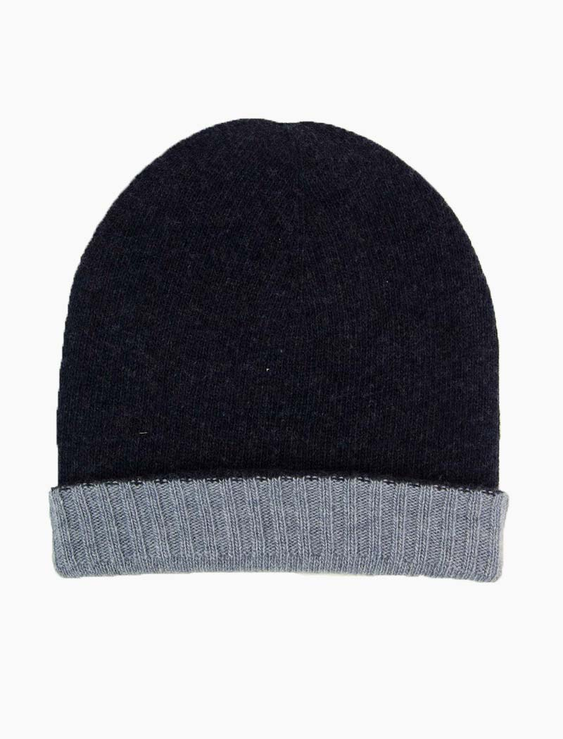 Blue & Light Blue Reversible Wool & Cashmere Beanie