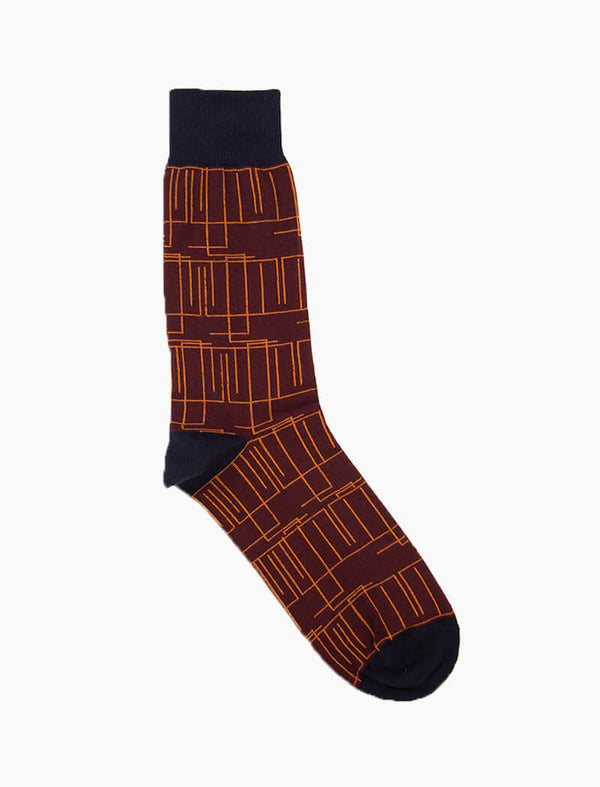 Burgundy Random Lines Organic Cotton Socks