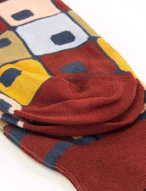 Burgundy 70's Squares Organic Cotton Socks | 40 Colori