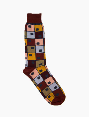 Burgundy 70's Squares Organic Cotton Socks