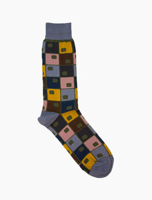 Jeans Blue 70's Squares Organic Cotton Socks