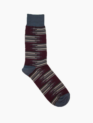 Plum Gradient Random Stripes Organic Cotton Socks