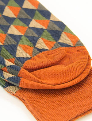Rust Multi Triangles Organic Cotton Socks | 40 Colori