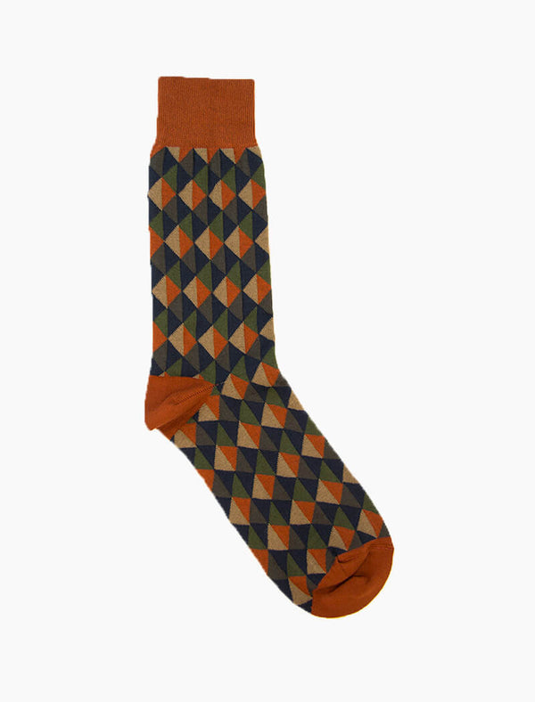 Rust Multi Triangles Organic Cotton Socks