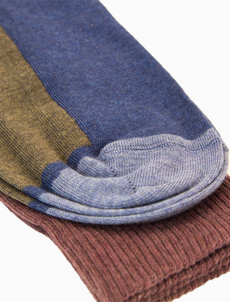Blue Colour Block Organic Cotton Socks