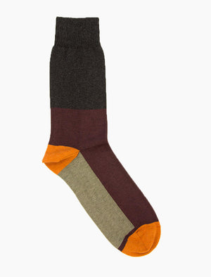 Burgundy Colour Block Organic Cotton Socks