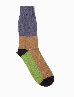 Beige Colour Block Organic Cotton Socks