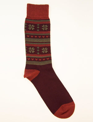 Burgundy Thick Fair Isle Organic Cotton Socks