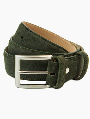 Olive Green Trento Solid Suede Belt | 40 Colori
