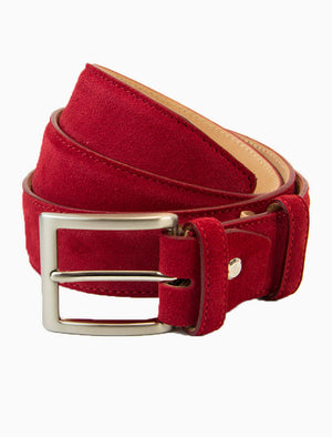 Red Trento Solid Suede Belt | 40 Colori