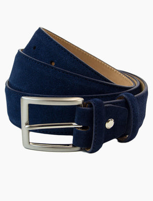 Navy Trento Solid Suede Belt | 40 Colori