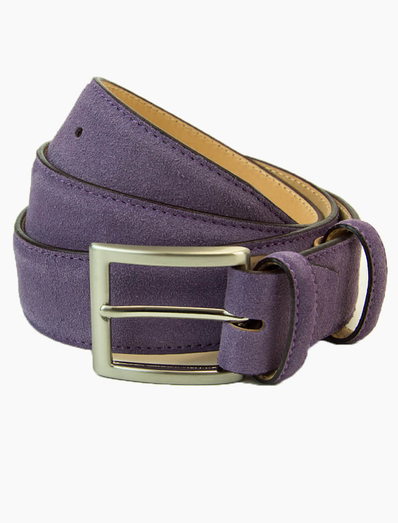 Purple Trento Solid Suede Belt | 40 Colori