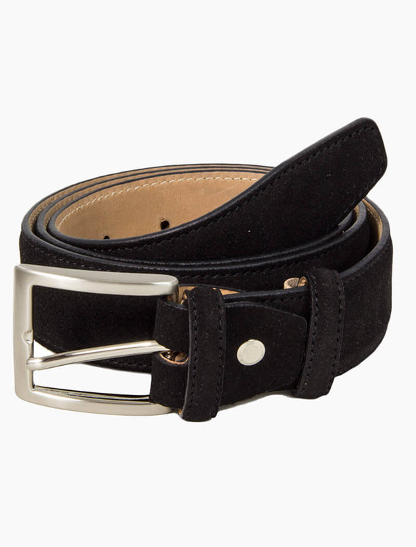 Black Trento Solid Suede Belt