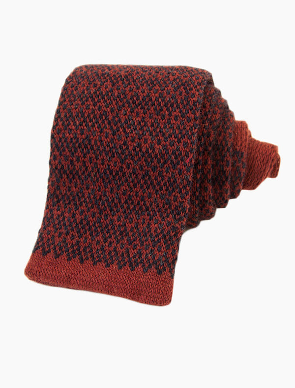Burgundy Dotted Wool & Cashmere Knitted Tie