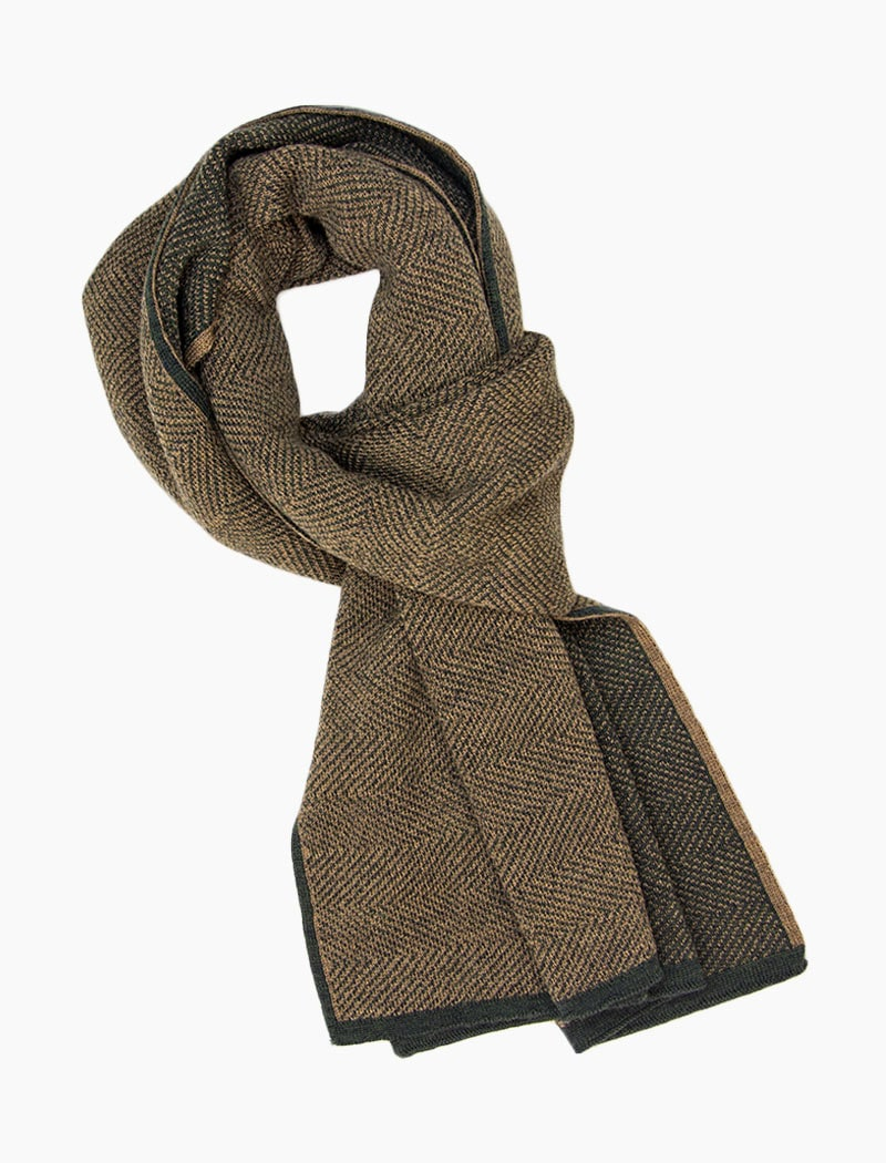 Military Green & Brown Reversible Herringbone Wool Scarf | 40 Colori