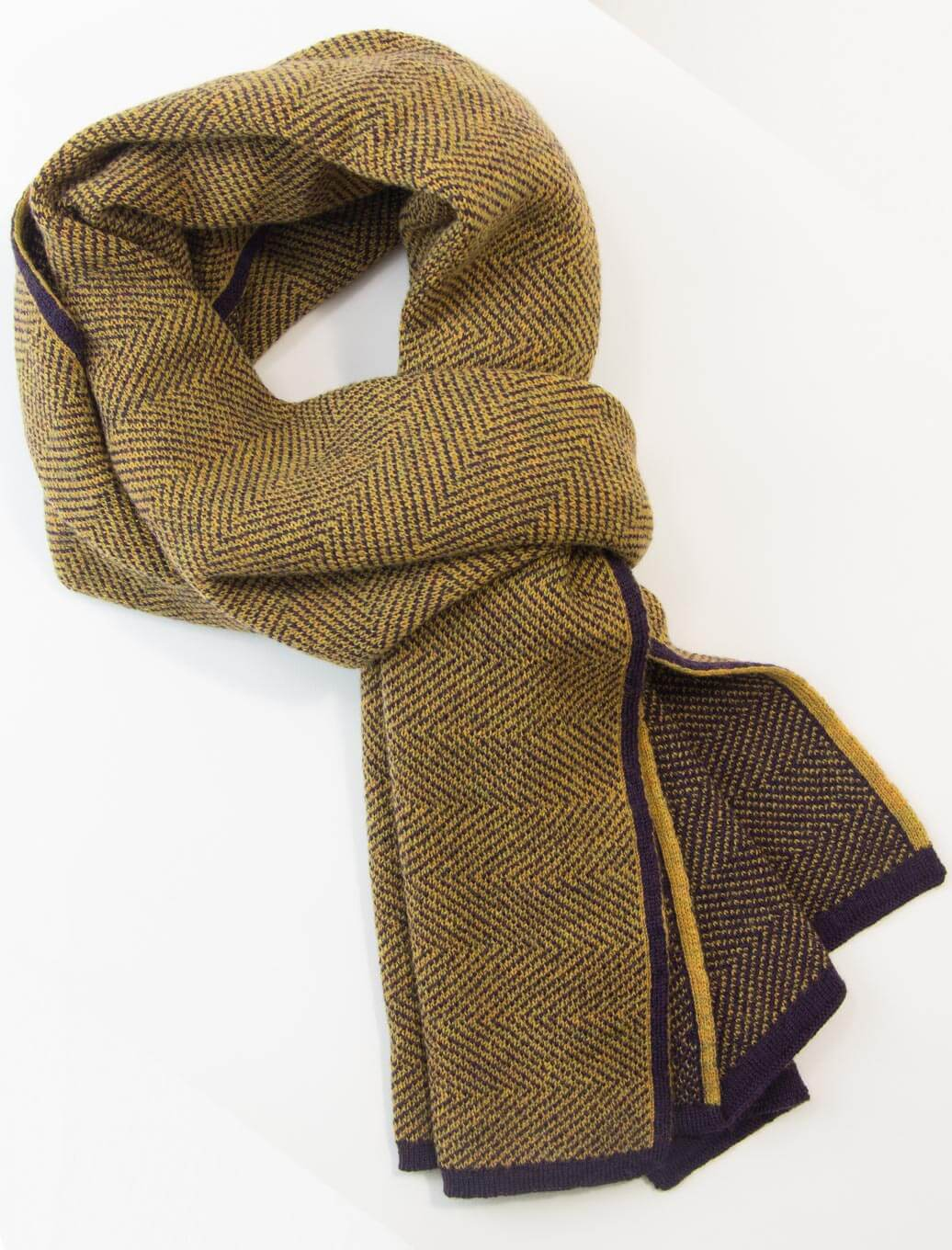 Mustard Yellow & Purple Reversible Herringbone Wool Scarf | 40 Colori