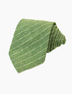Green Pin Striped Silk, Linen & Cotton Blend Tie