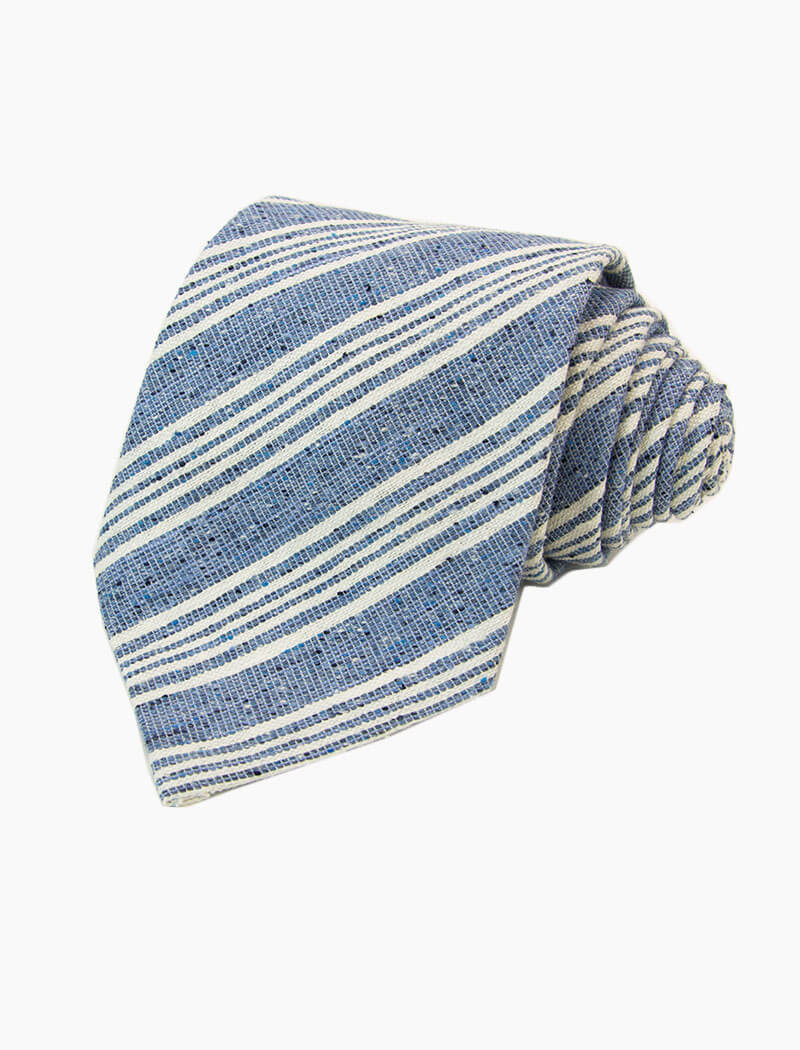 Blue Multi Pin Striped Silk, Linen & Cotton Blend Tie