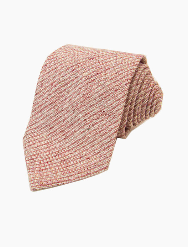 Pink Thin Striped Silk & Linen Blend Tie