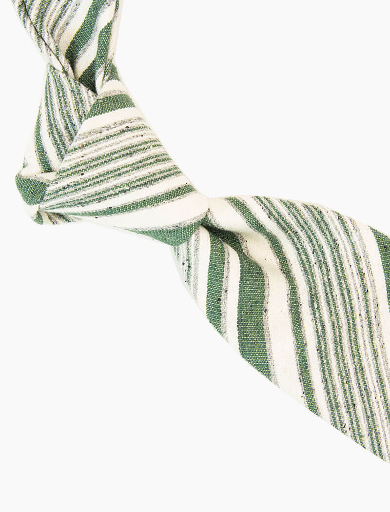 Green Textured Multiple Striped Silk, Linen & Cotton Blend Tie