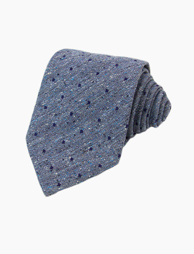 Blue Dotted Silk, Linen & Cotton Blend Tie