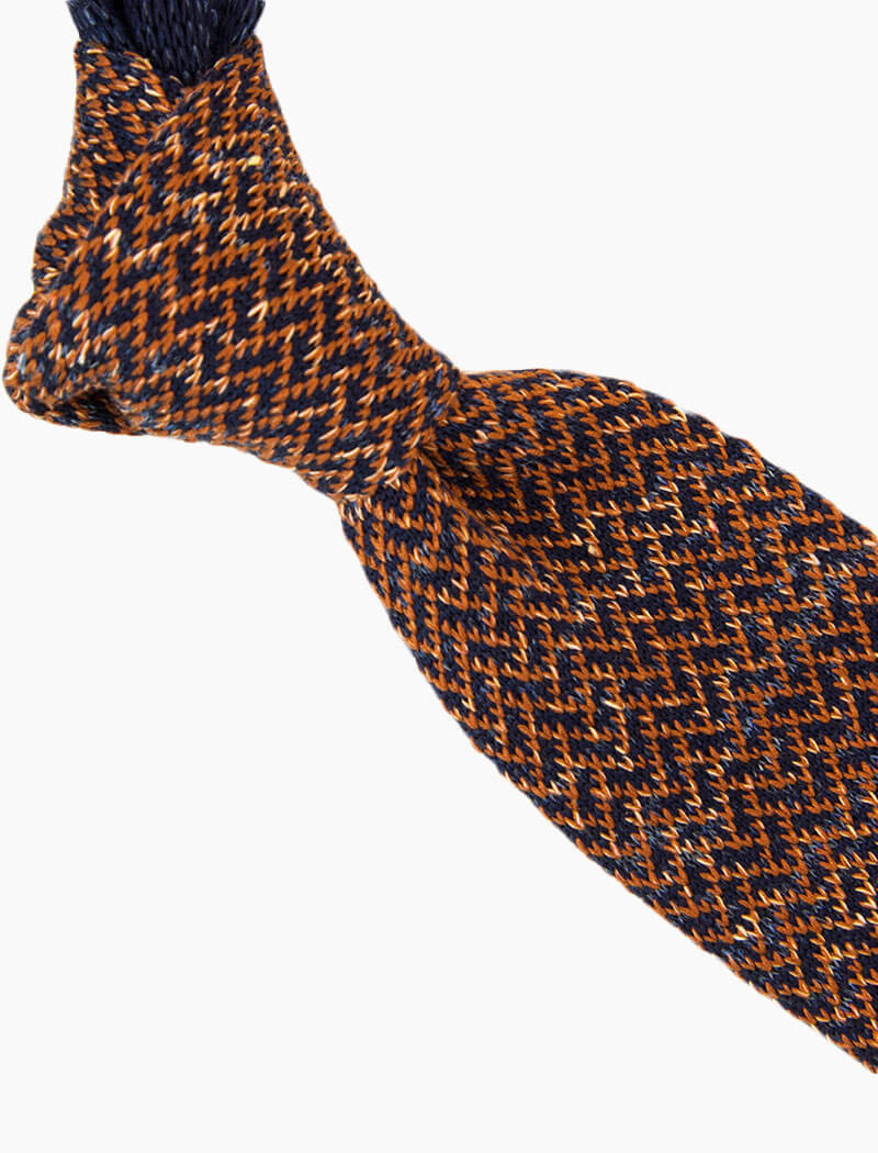 Rust Silk & Linen Herringbone Knitted Tie