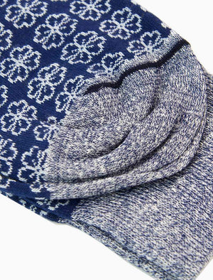 Blue Small Flowers Linen & Organic Cotton Socks