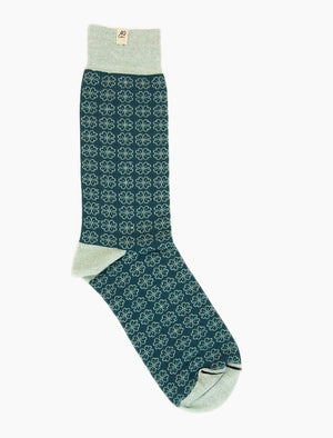 Teal Small Flowers Linen & Organic Cotton Socks