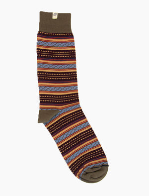 Burgundy Detailed Striped Organic Cotton Socks