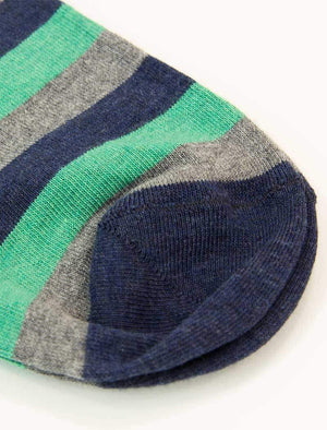 Teal Thick Striped Short Organic Cotton Socks | 40 Colori
