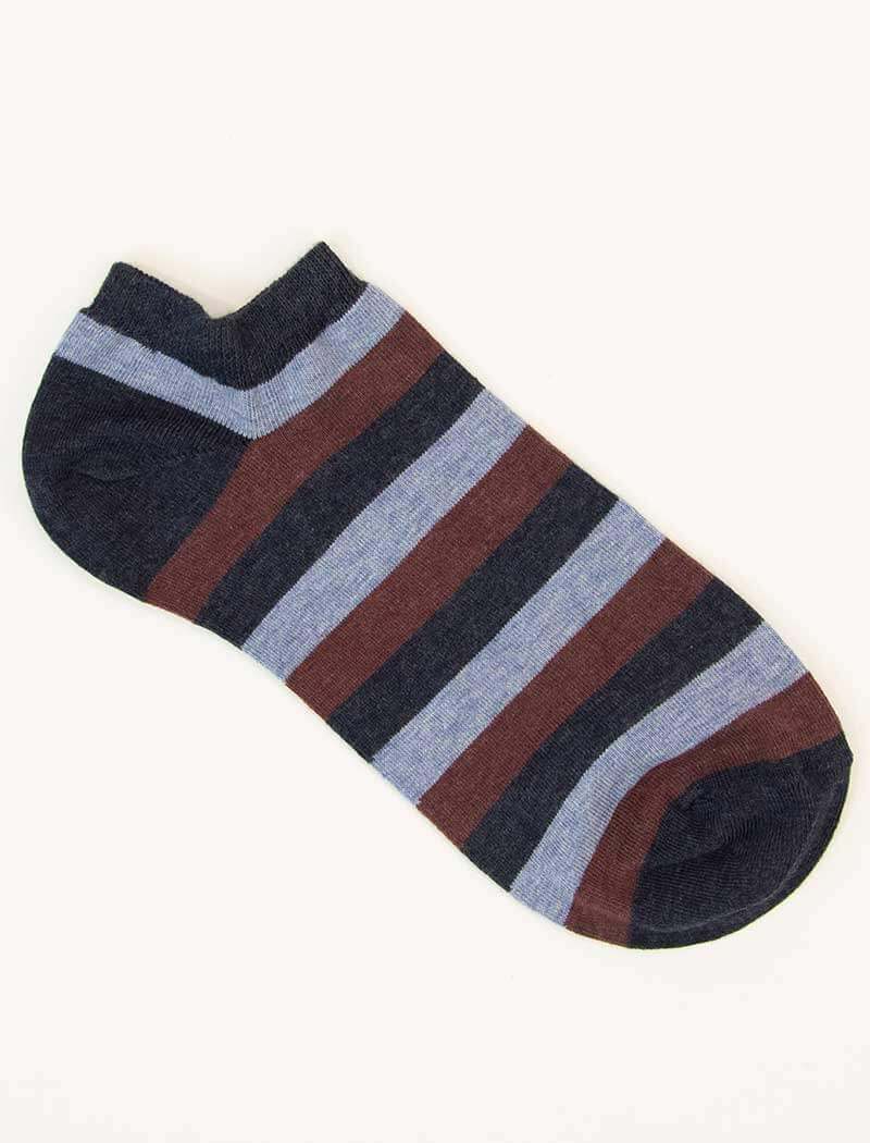 Blue Thick Striped Short Organic Cotton Socks | 40 Colori