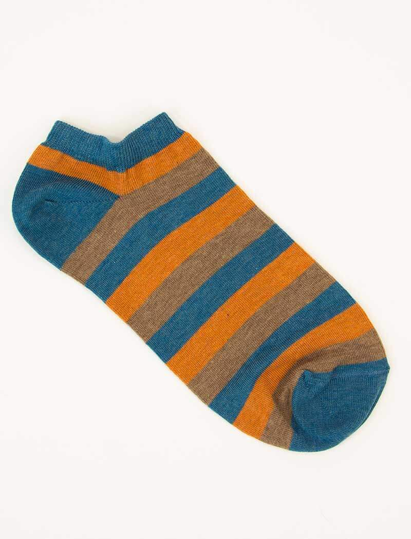 Orange Thick Striped Short Organic Cotton Socks | 40 Colori
