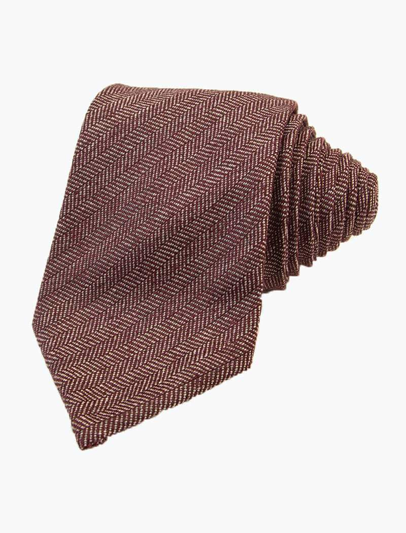 Burgundy Small Herringbone Wool Tie | 40 Colori