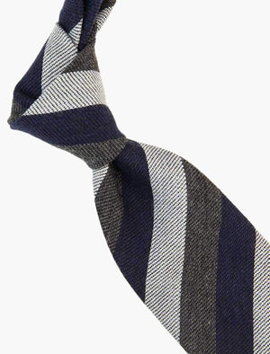 Navy Multi Striped Wool & Silk Tie | 40 Colori