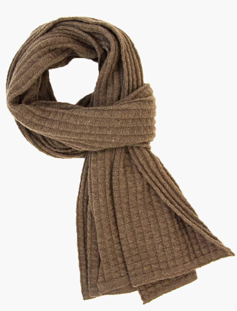 Light Brown Waffle Knitted Wool & Cashmere Scarf