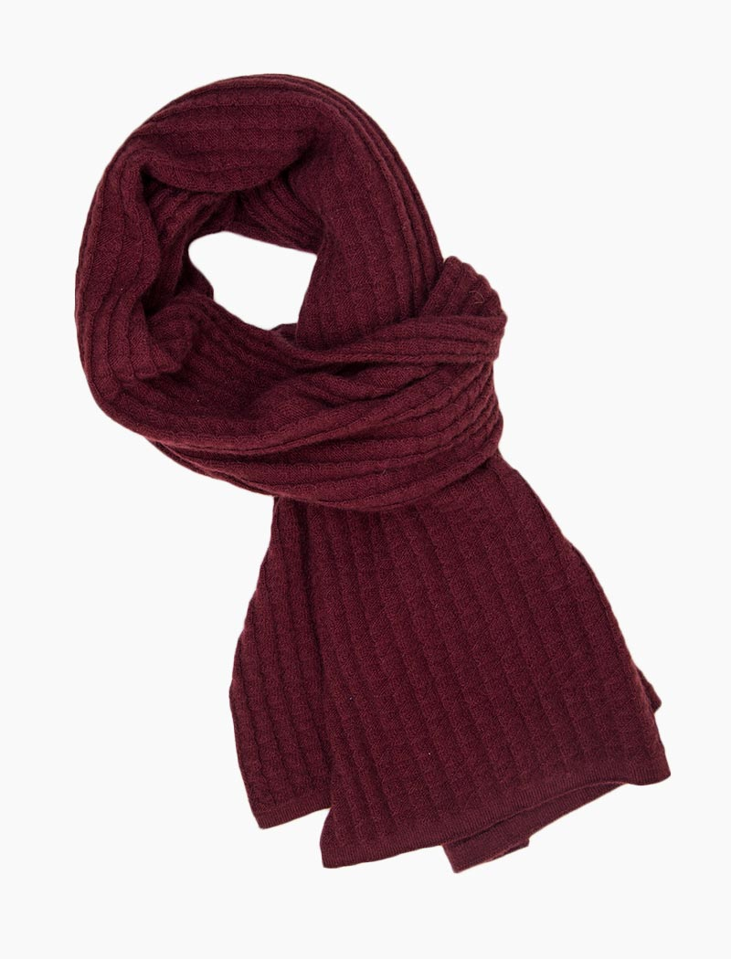 Burgundy Waffle Knitted Wool & Cashmere Scarf | 40 Colori