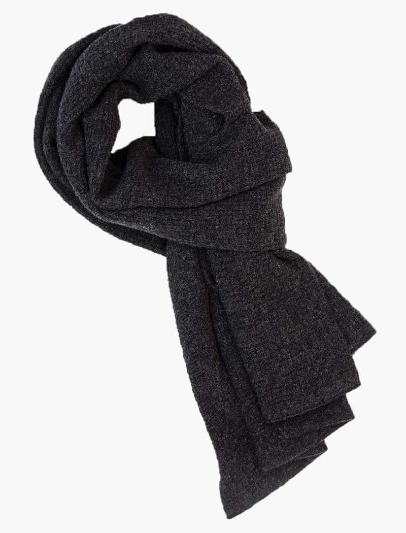 Charcoal Basket Weave Knitted Wool & Cashmere Scarf